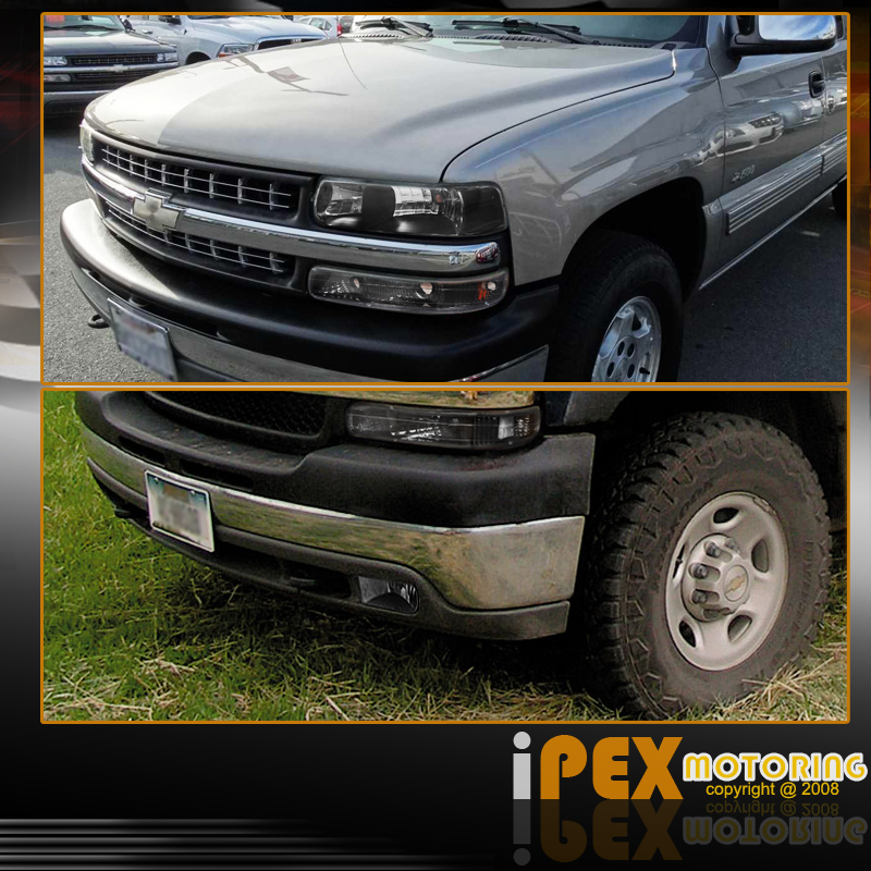 5-PIECE COMBO: 99-02 Chevy Silverado Black Headlight