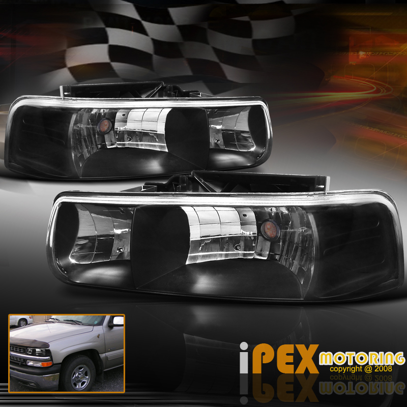 1999 2002 chevy silverado 2000 2006 suburban tahoe black headlights ebay