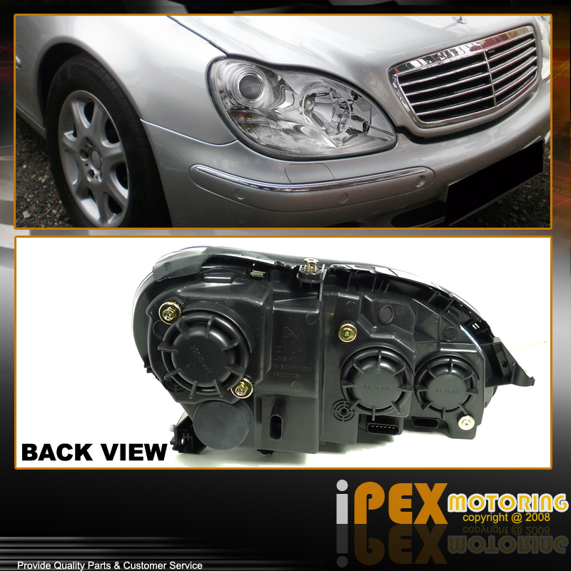 S class 2000 2005 mercedes benz w220 projector chrome for Mercedes benz s430 headlight replacement