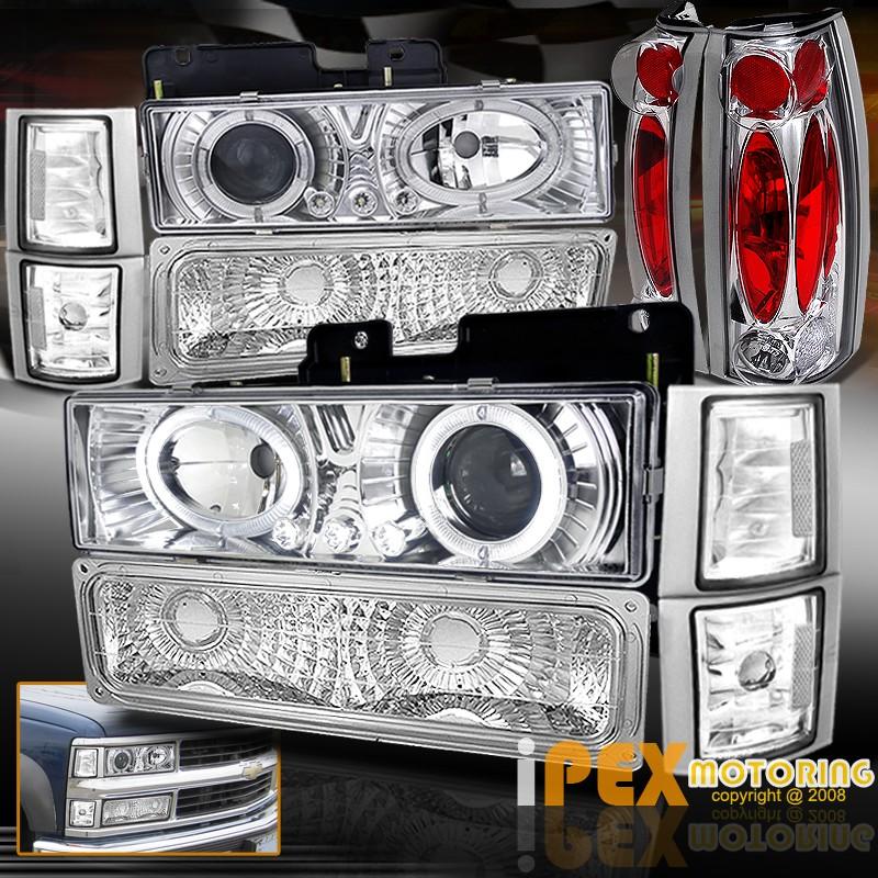 97 gmc sierra tail lights 94 98 gmc yukon sierra 10pc halo projector led headlights signals