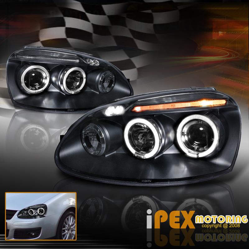 New 2006 2007 2008 VW Jetta MK5 Golf Rabbit Halo Projector LED Headlights Black