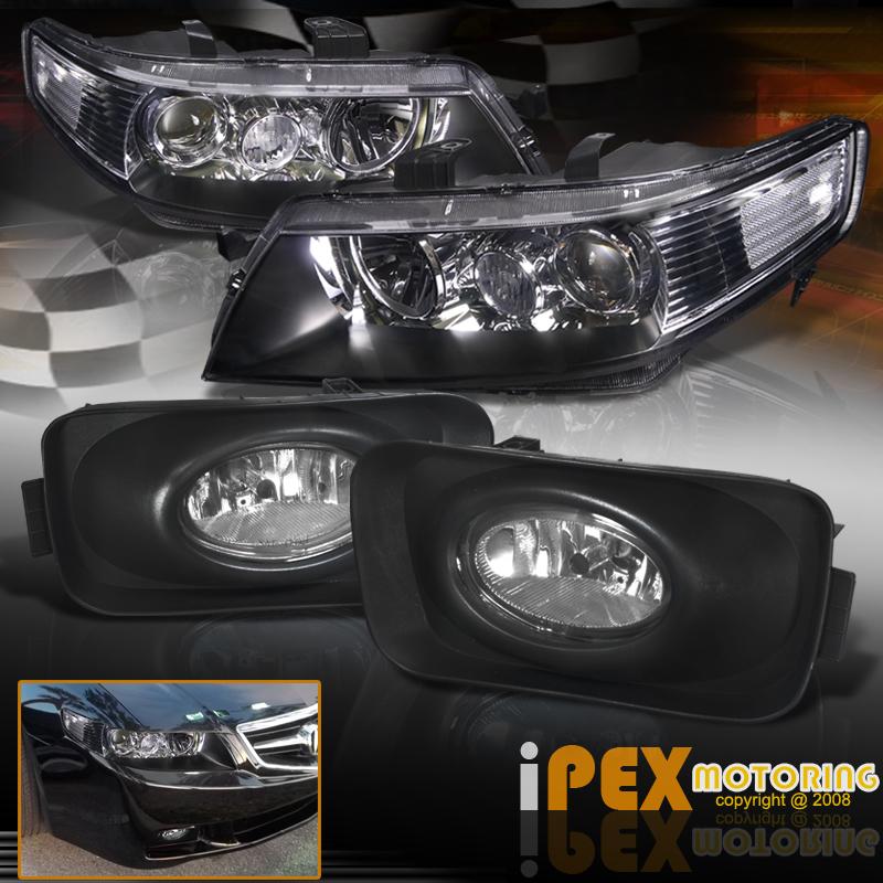 2004-2005 Acura TSX JDM Black Projector Headlights W
