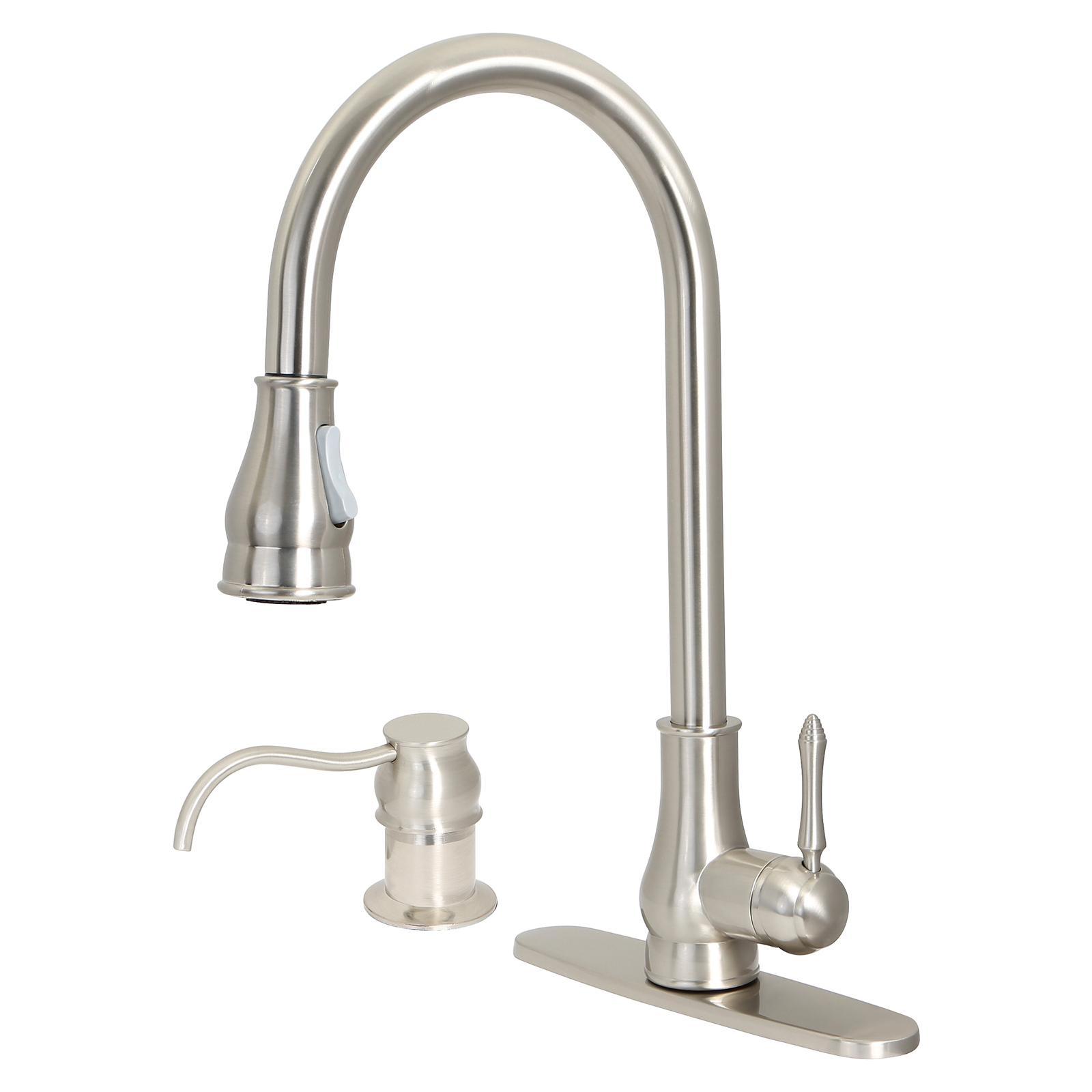"18"" Pull Down Kitchen Sink Faucet W/ Soap Dispenser"