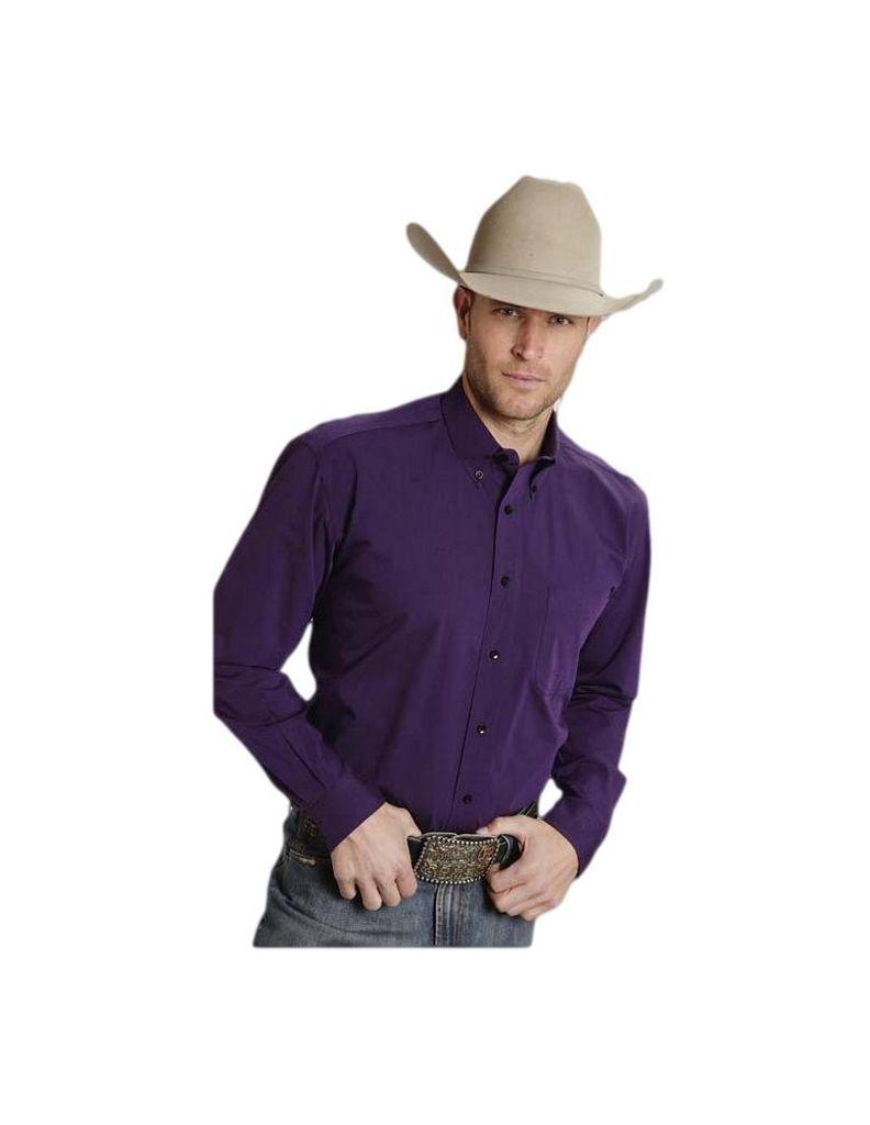 Roper Western Shirt Mens L/S Solid Button Purple 03-001-0366-0653 PU at Sears.com