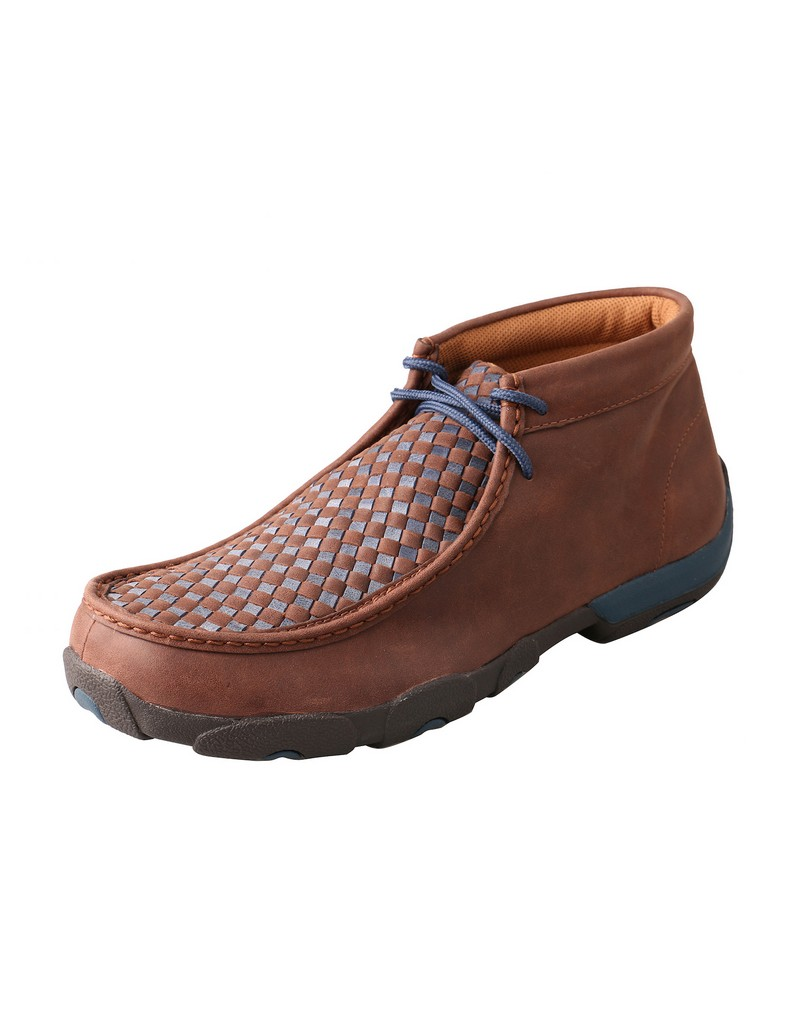 twisted x casual shoes mens mocs checkerboard lace brown