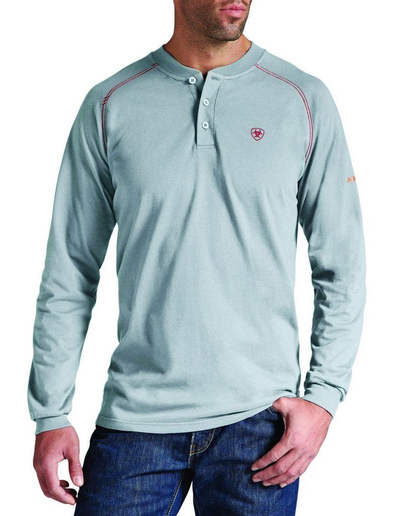 Ariat work shirt mens flame resistant l s henley silver for Flame resistant work shirts