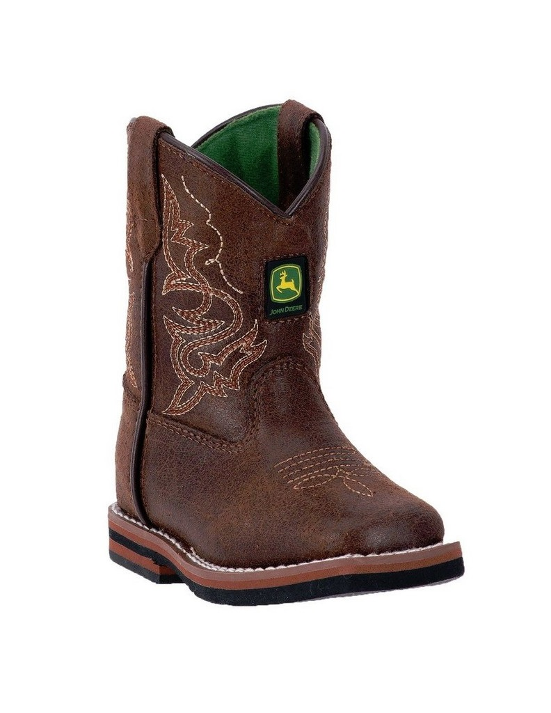 deere western boots boys broad toe leather rust
