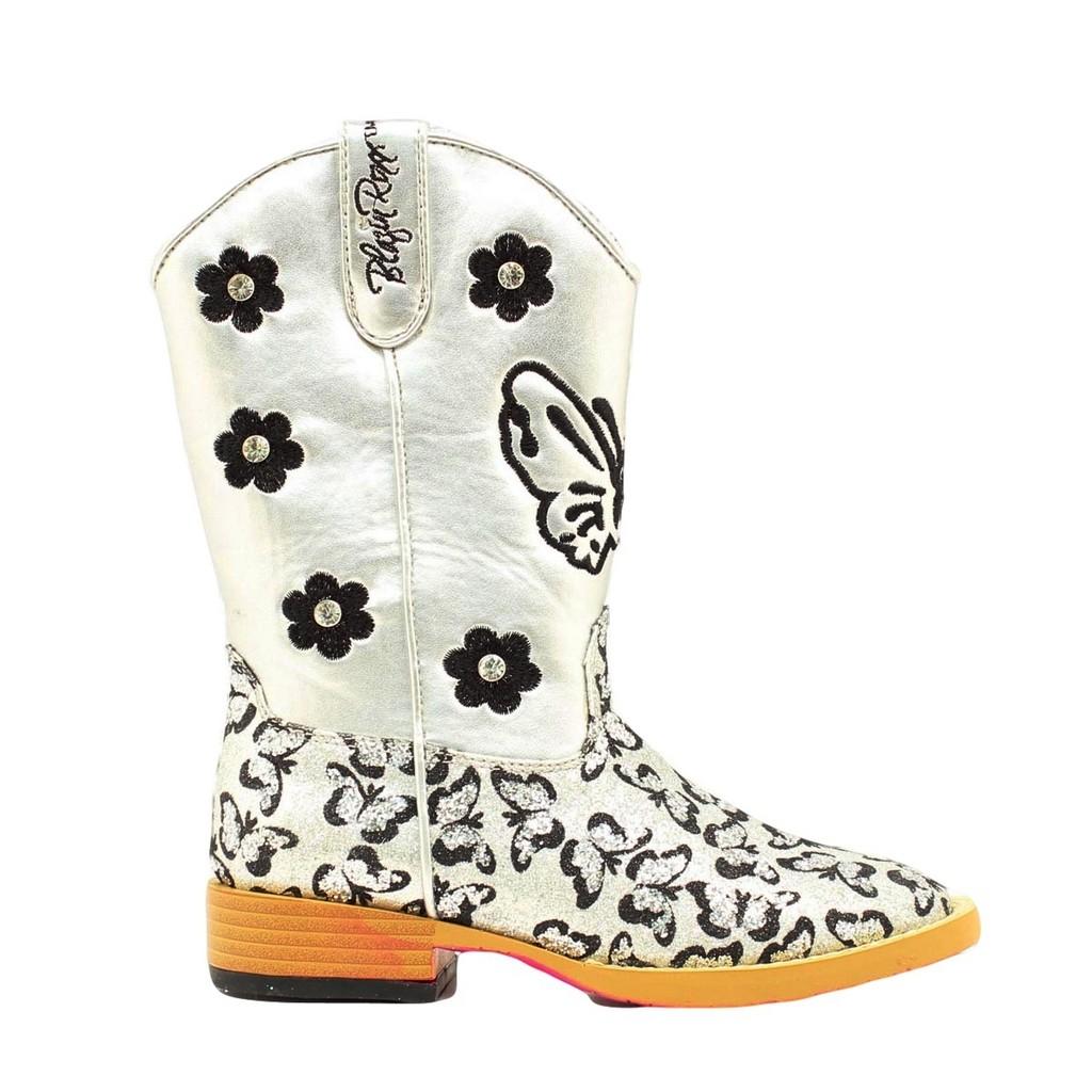 Blazin Roxx Western Boots Girls Pecos Cowboy Zipper Silver 4451066