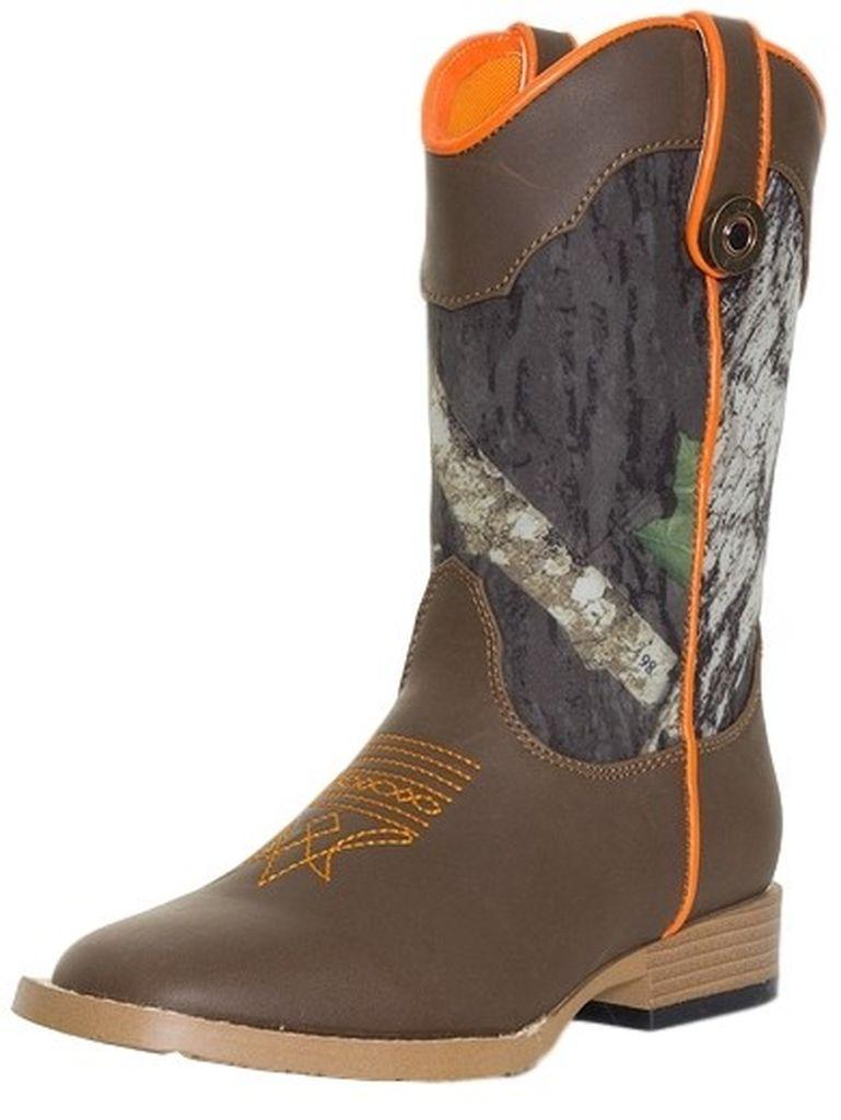 Double Barrel Western Boots Boys Buck Shot Kids Camo Brown 44718222