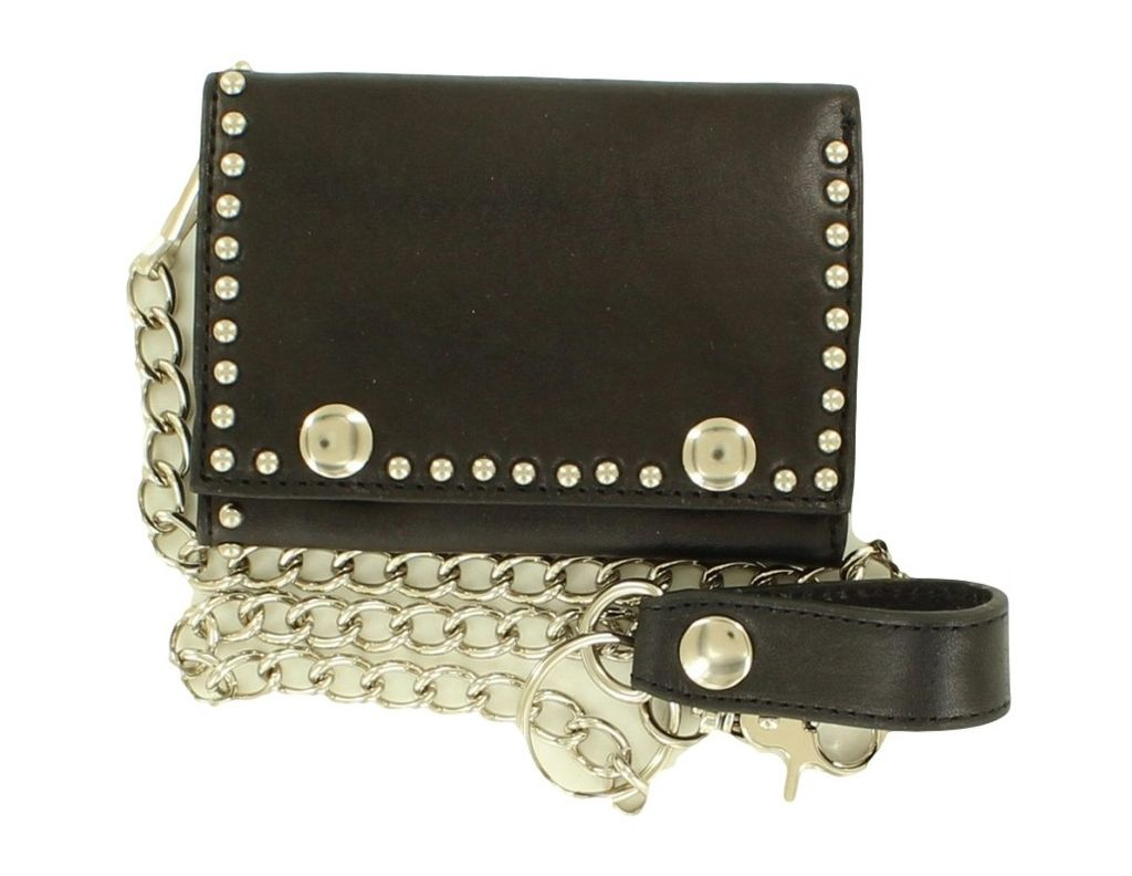 Nocona Western Wallet Mens Leather Trifold Chain Strap N54136