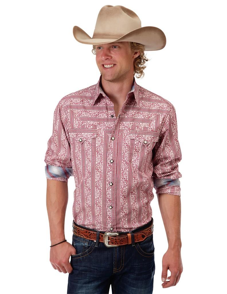 Roper Western Shirt Mens L S Floral Snap Red 03 001 0064