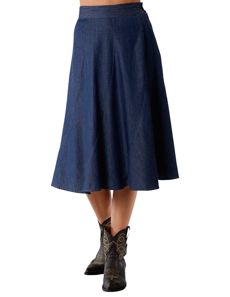roper western skirt womens denim midi m blue 03 060 0594