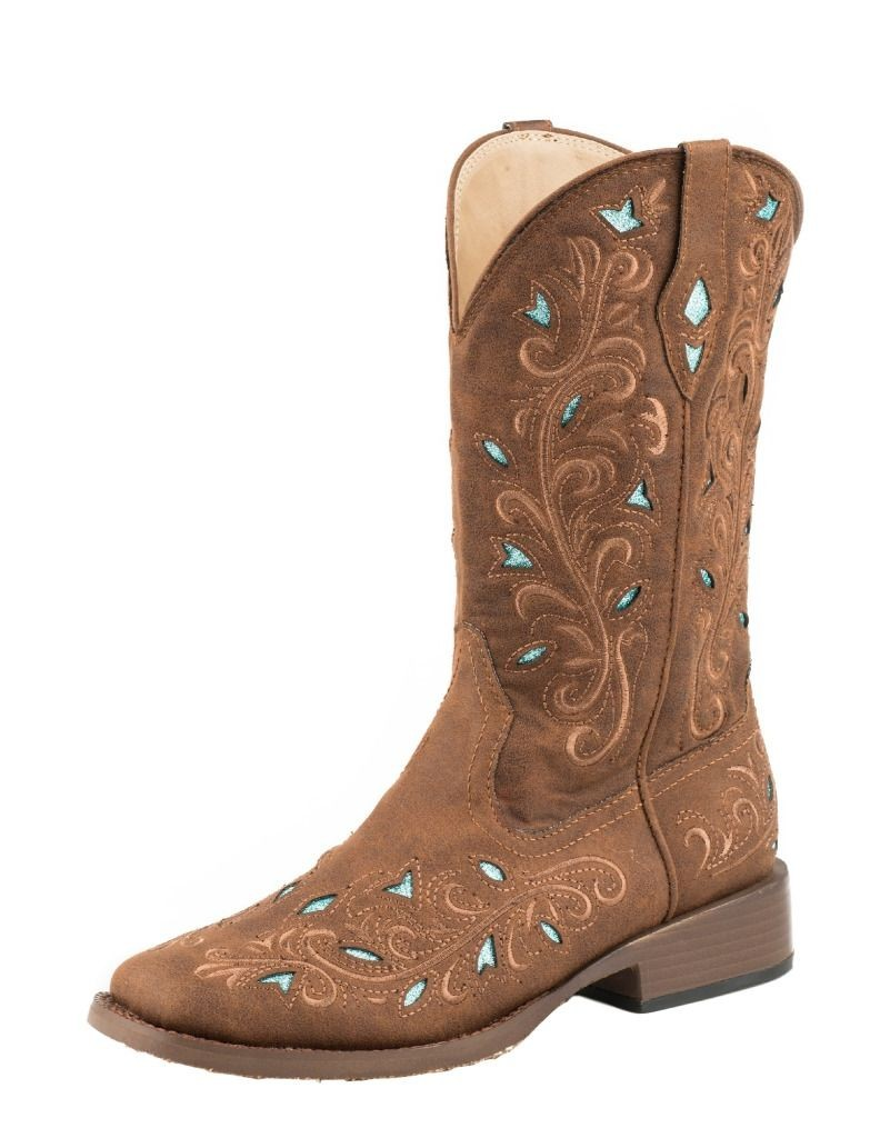 roper western boots womens cowboy bling faux brown 09 021