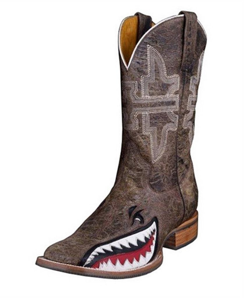Tin Haul Western Boots Mens Gnarly Shark Brown 14 020 0007