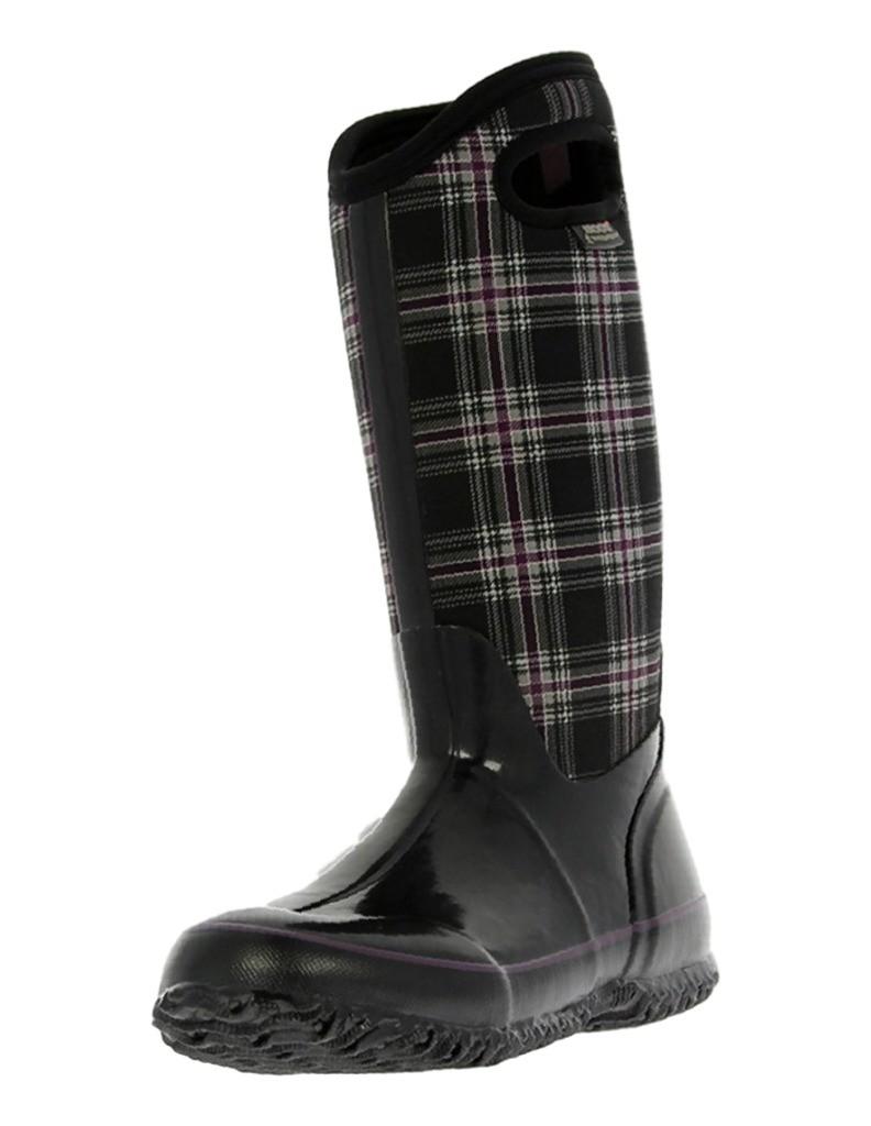 Womens Bogs Muck BOOTS Winter Plaid Tall WP 9 Black Multi 71536 | eBay