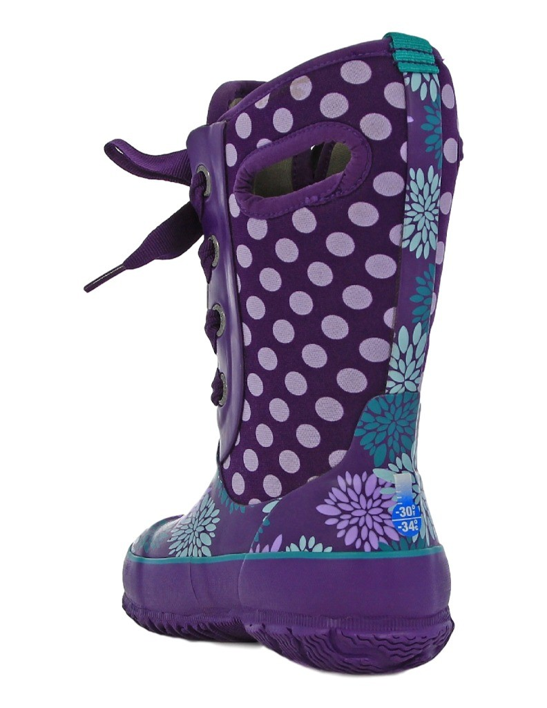 Bogs Muck Boots Girls Kids Casey Pompons Lace Up Waterproof 71992 ...