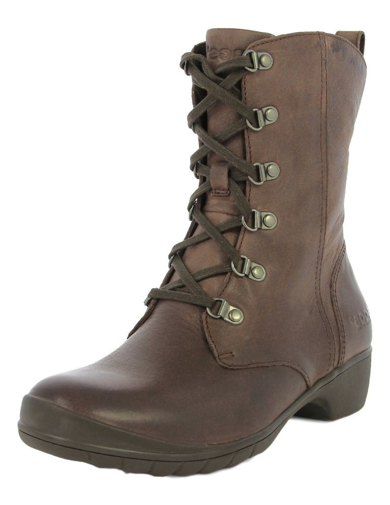 Wonderful Boots Tall Lace Up Leather Tan Women 1313 Vintage From