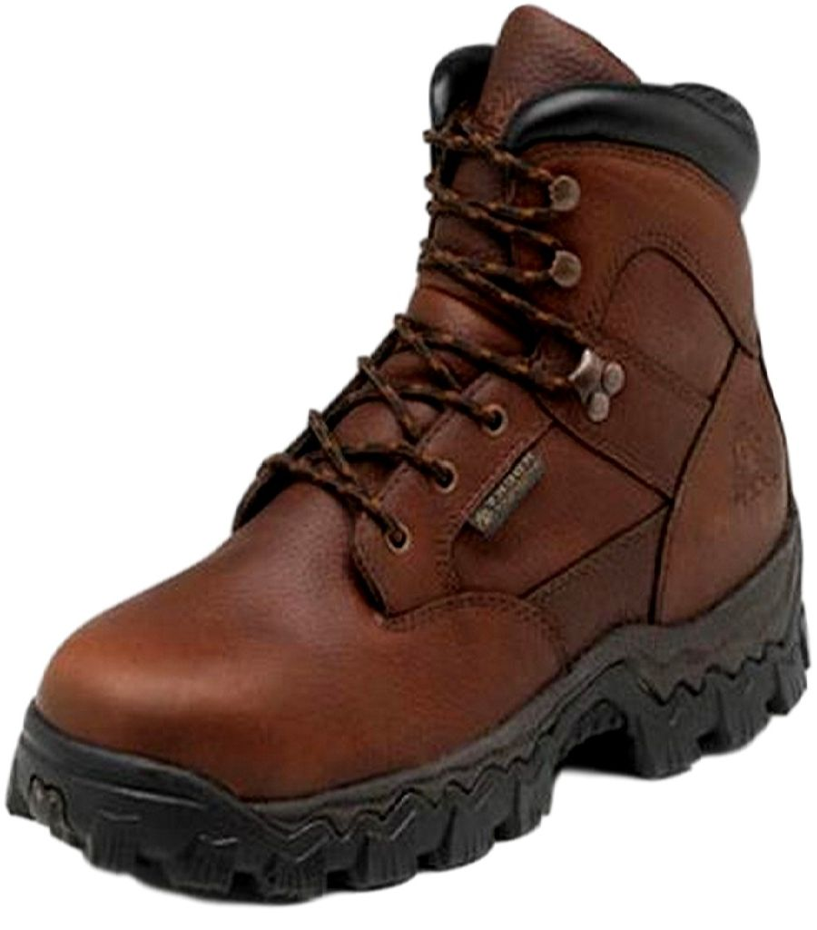 Rocky Work Boots Mens Waterproof Steel Toe EH Leather Brown R6003
