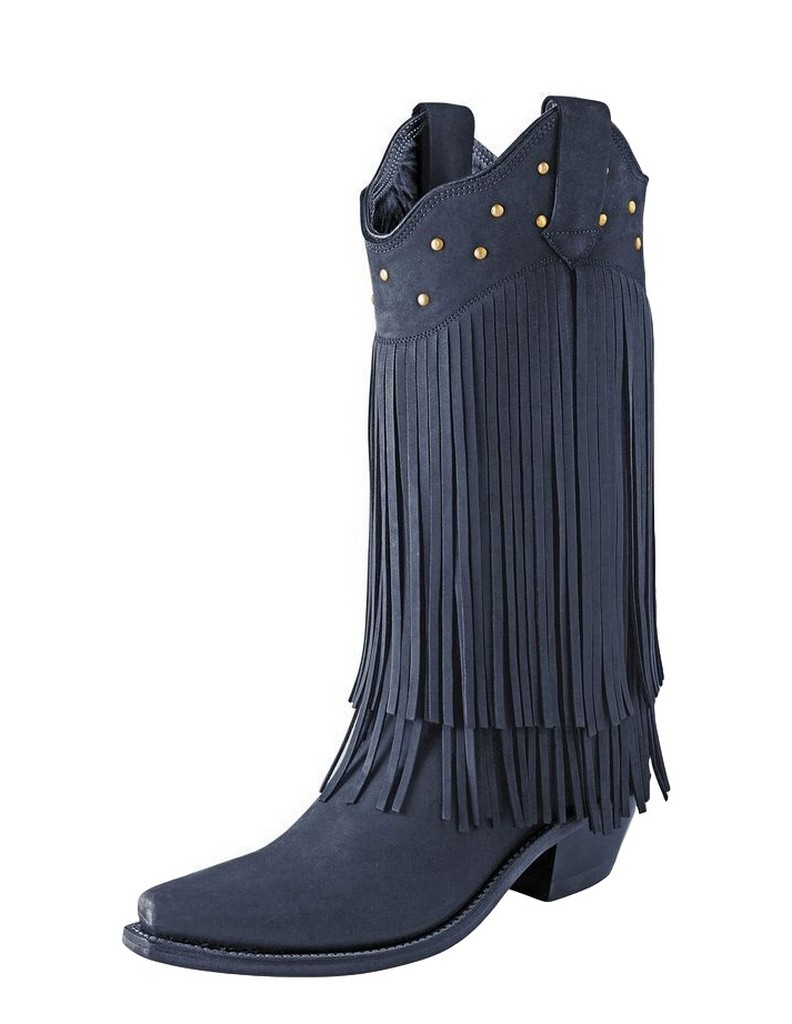 west cowboy boots womens fringe snip toe 7 b black