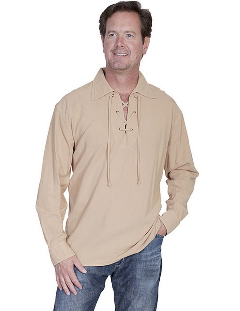 Scully western shirt mens cantina long sleeve lace up cm8 for Men s dobby shirt
