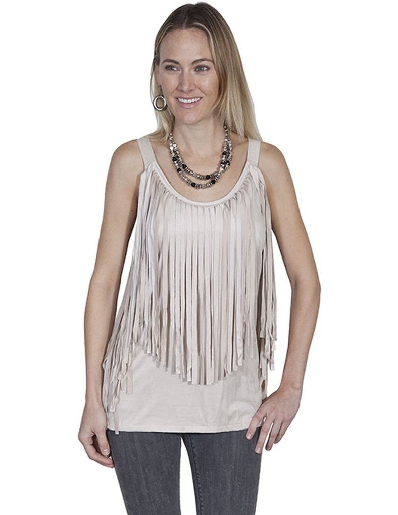 Scully Western Shirt Womens Sleeveless Fringe Tank Top L