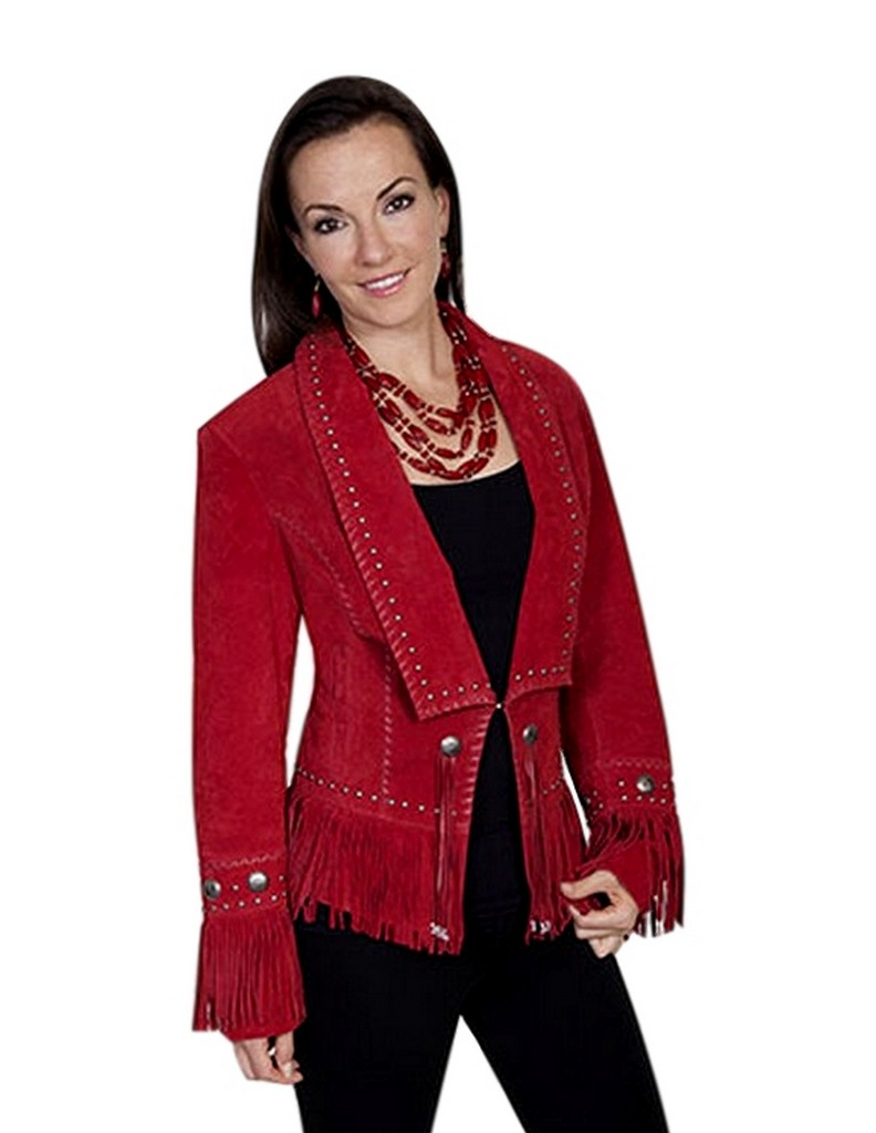 Scully Western Jacket Womens Leather Suede Fringe Beaded ...