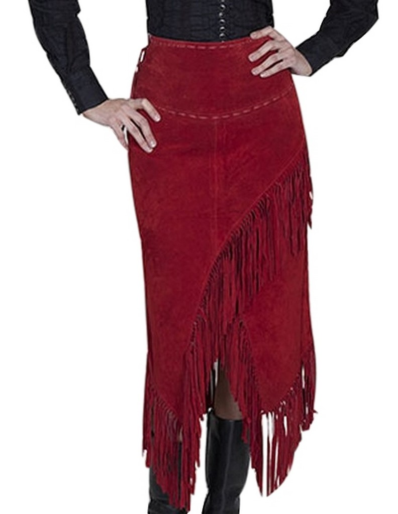 scully western skirt womens leather suede fringe l659