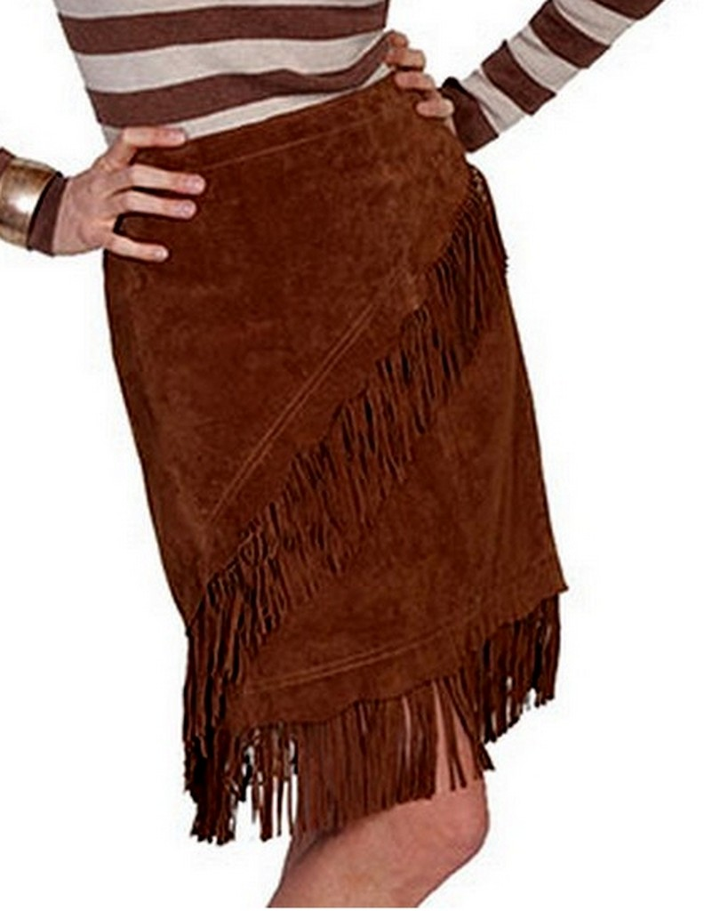 scully western skirt womens leather suede mini fringe l708