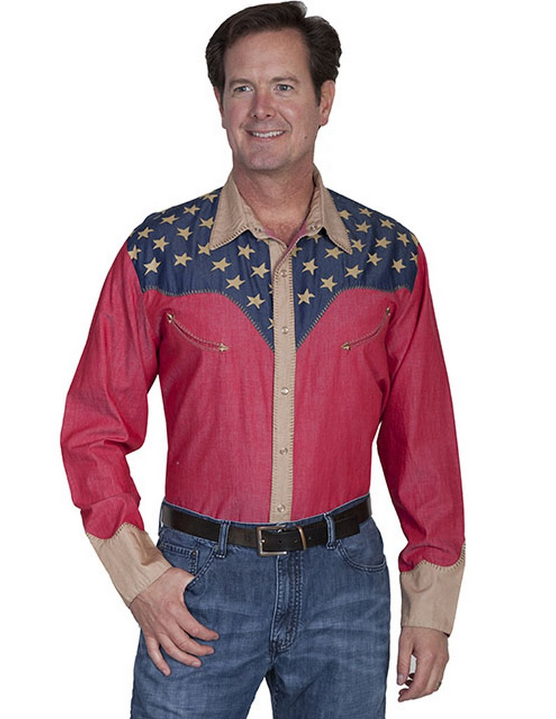 Scully western shirt mens long sleeve snap star american p 850 for Mens shirt with stars