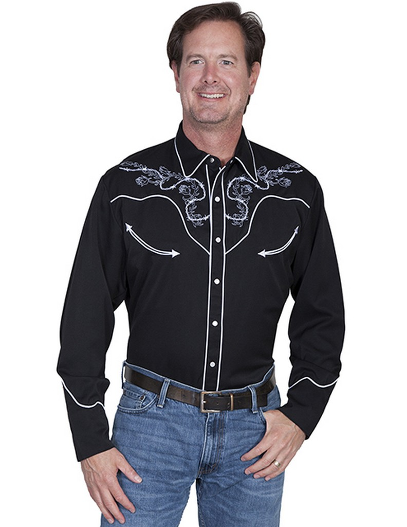Scully Western Shirt Mens Long Sleeve Embroidered Snap P 854