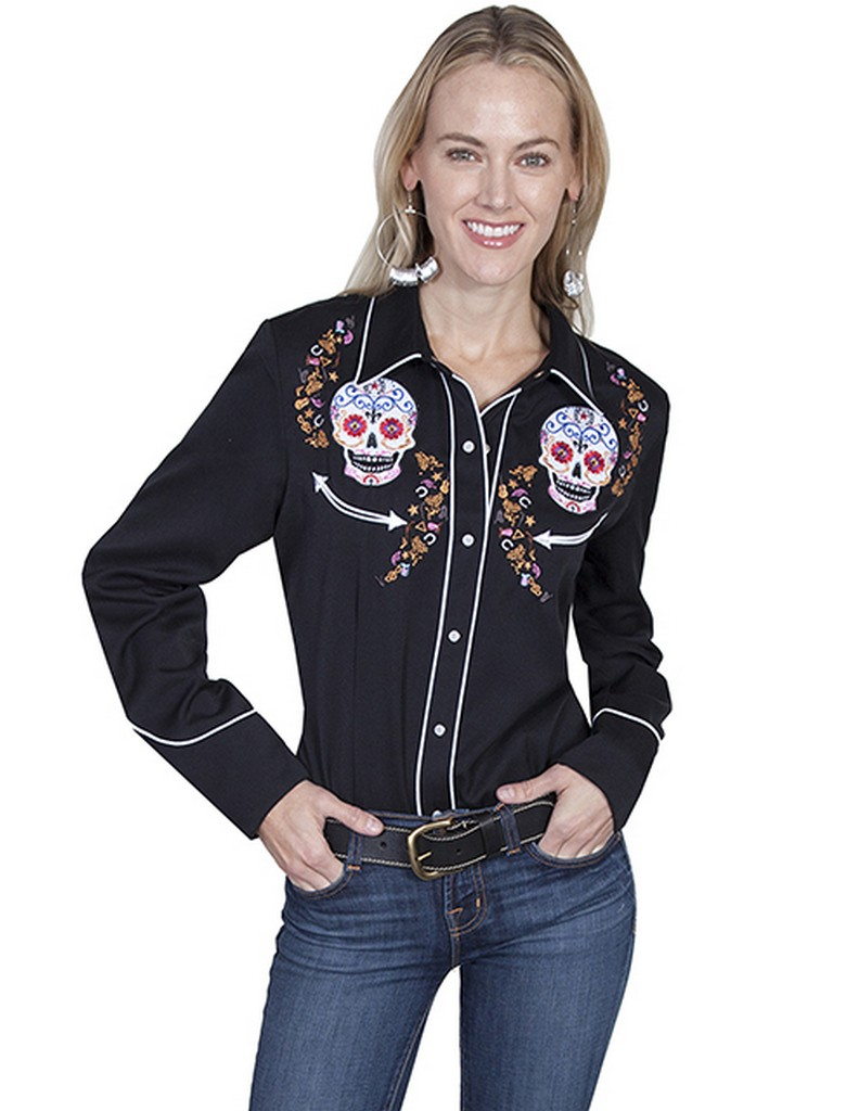Scully western shirt womens long sleeve embroidered snap for Women s sunscreen shirts