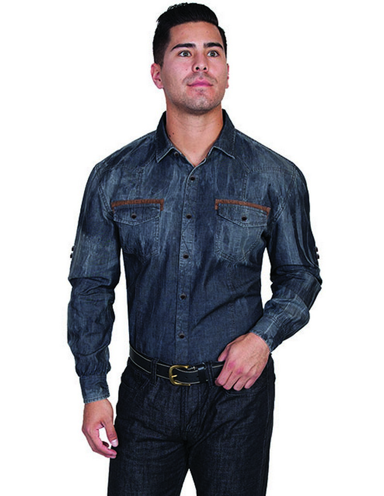 Scully Western Shirt Mens Long Sleeve Snap Roll Up Tabs