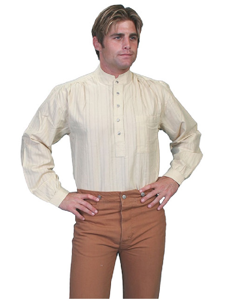 Scully western shirt mens old west pull over long sleeve for Pull over shirts for mens