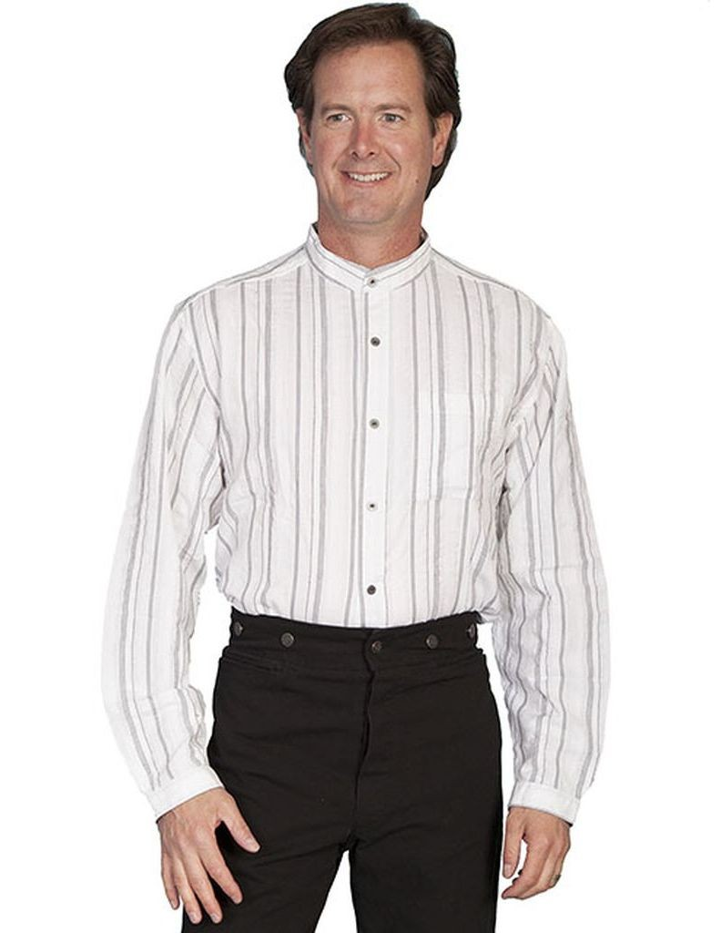Scully western shirt mens striped long sleeve button front for Mens big and tall banded collar shirts