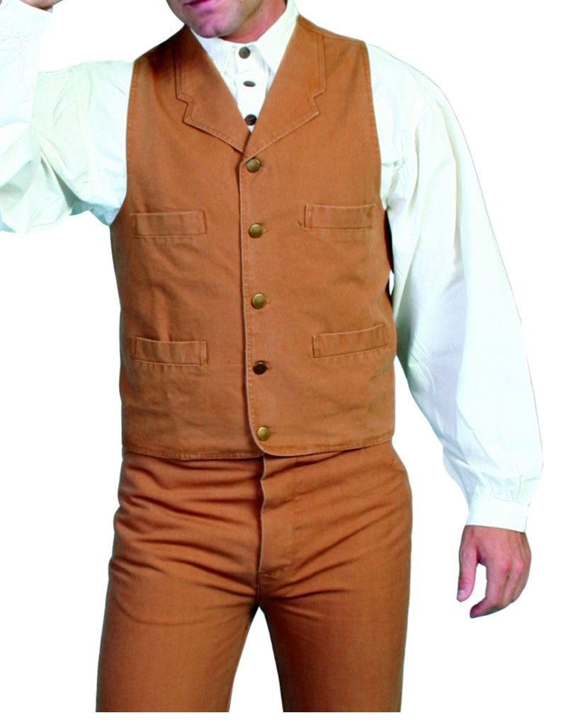 Scully-Old-West-Vest-Mens-Western-Lined-Button-Cotton-Canvas-RW041