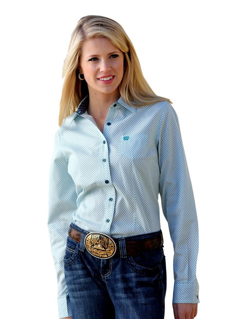 Cinch western shirt womens long sleeve dot turquoise teal for Women s turquoise long sleeve shirt