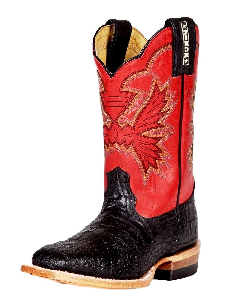 CINCH Western Boot Boys Cowboy Leather Caiman Print Black Chili KCY103 at Sears.com