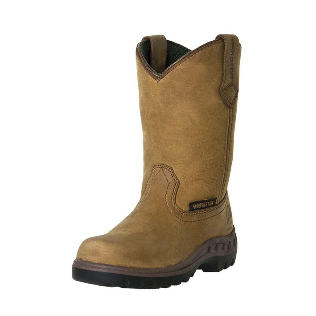 John Deere Western Work Boots Boys Kids Tramper Waterproof Tan JD2414 at Sears.com