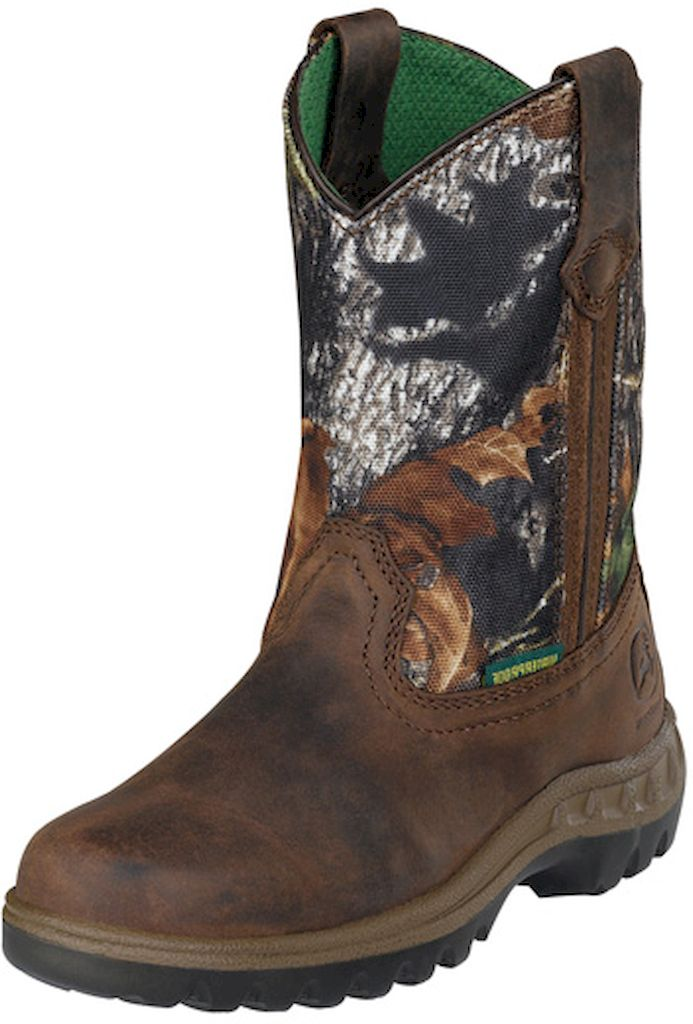 John Deere Western Boots Boys Kids Tramper Waterproof Tan Camo JD2468 at Sears.com