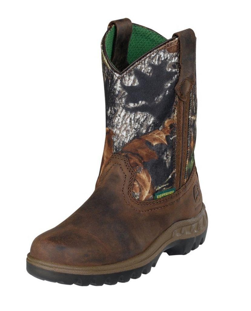 Johnny Popper Work Boots Boys Kids Waterproof Tan Camo JD3468