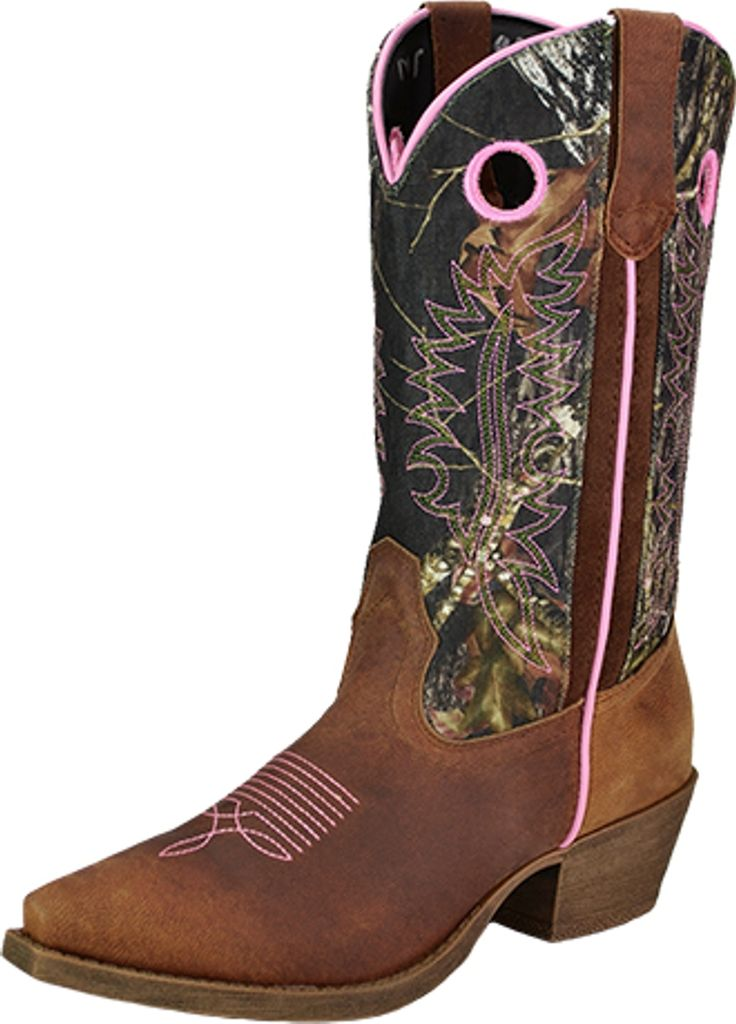 John Deere Western Boots Womens Leather Cowboy Tan Camo
