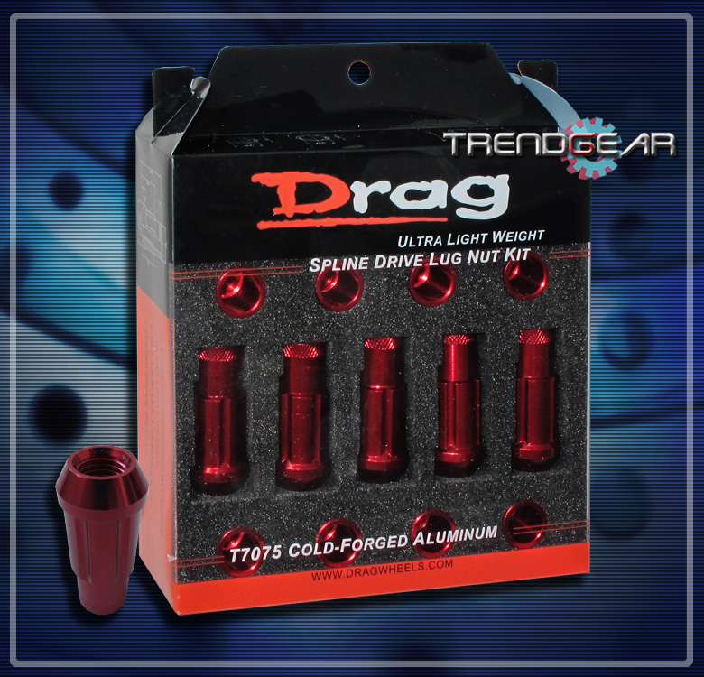 20 Drag 12x1 25 Wheel Rim Spline Tuner Lug Nuts Key Red