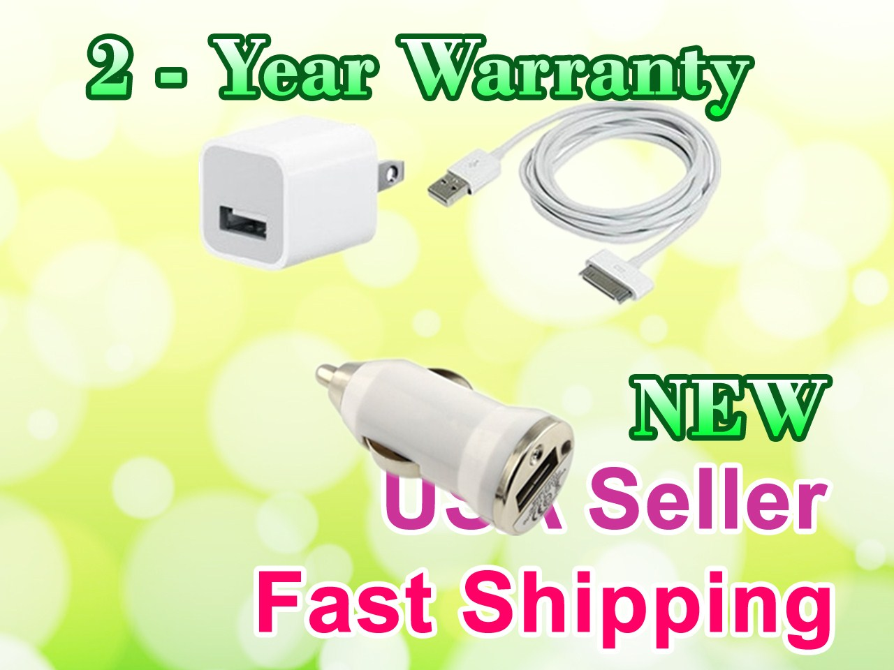USB AC Power Adapter + Car Charger Data Cable for iTouch 2nd 3rd 4th