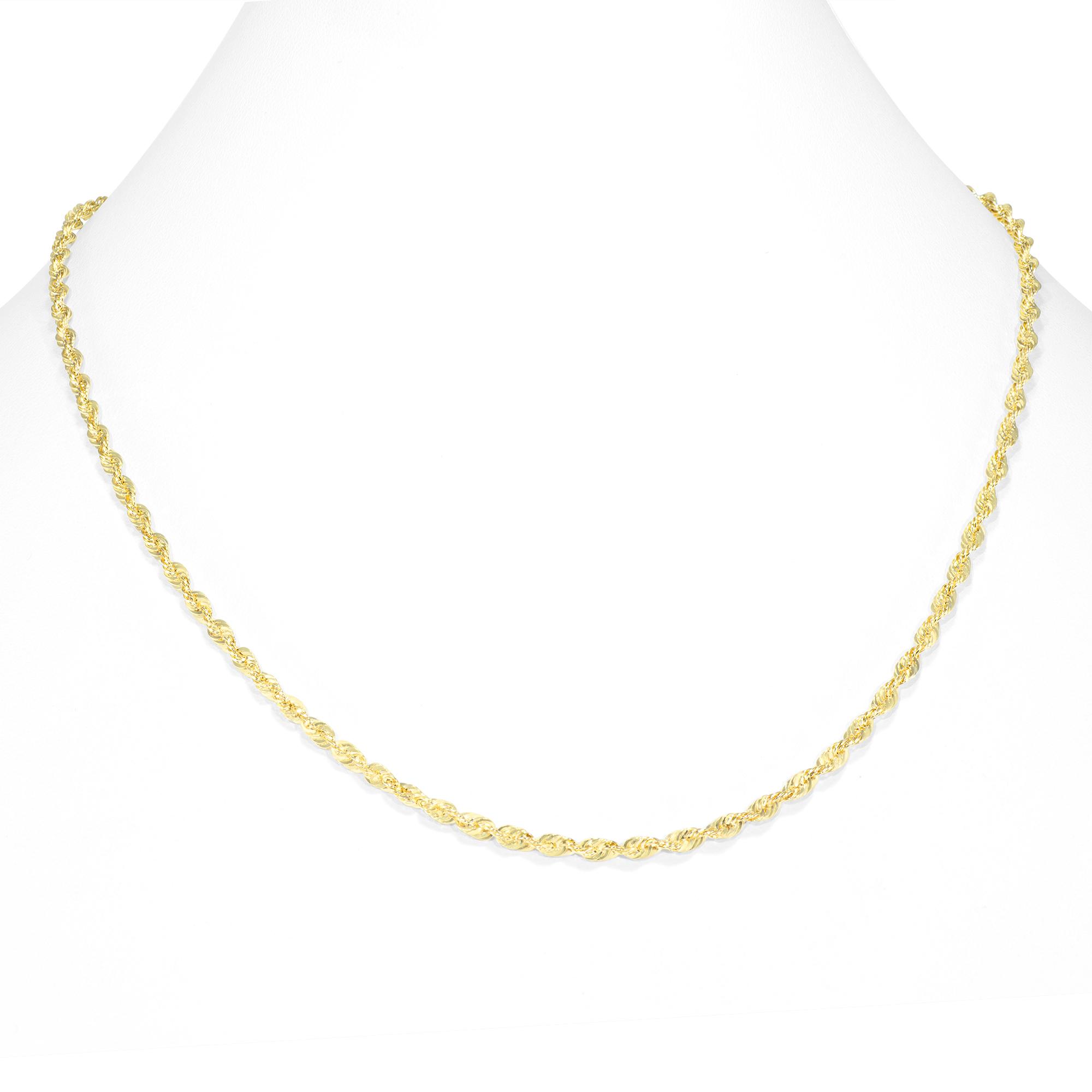 "10K Yellow Gold Womens 3mm Light Diamond Cut Rope Chain Pendant Necklace 18/"""