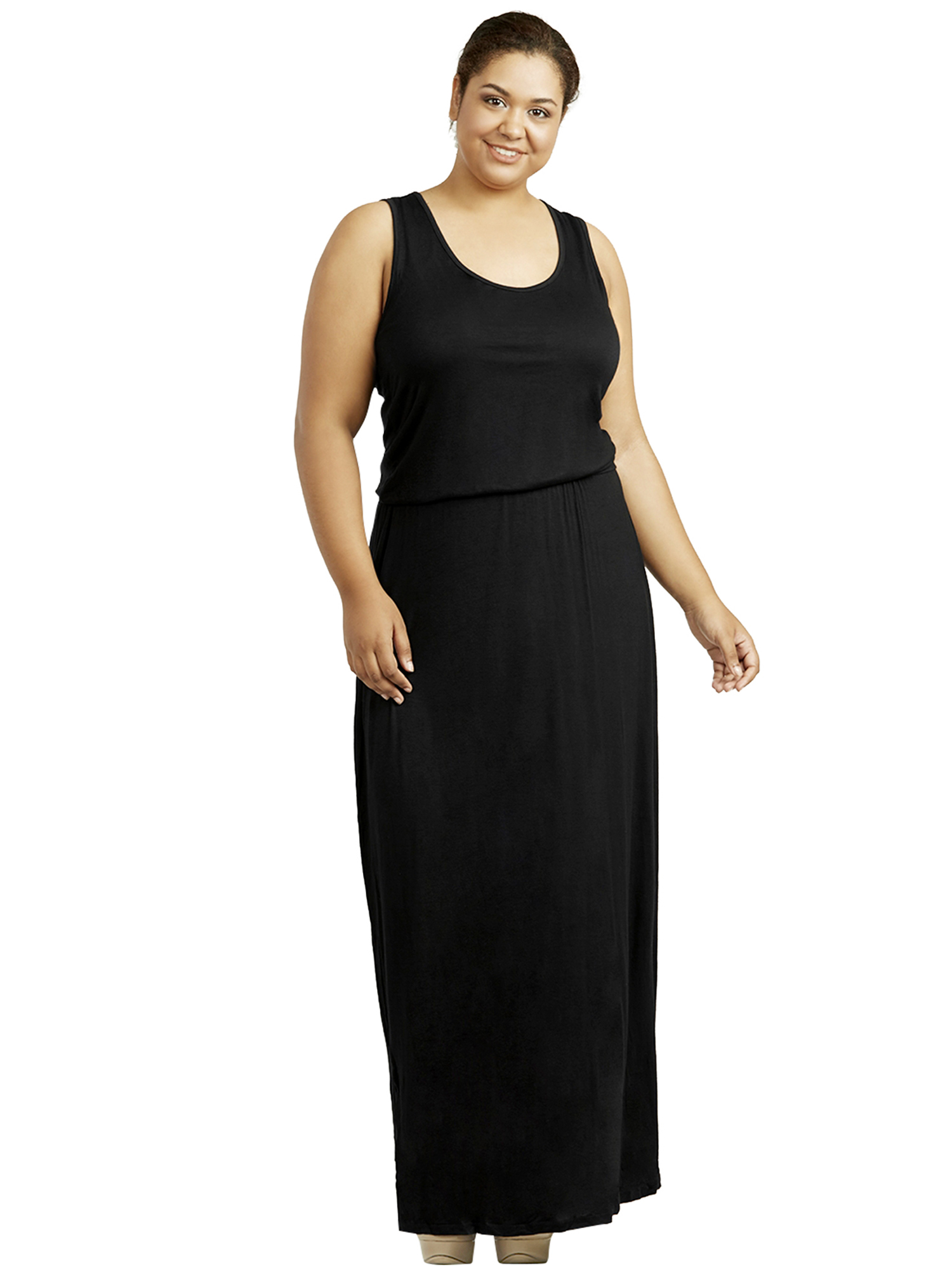 WOMENS PLUS SIZE ELASTIC WAIST LONG DRESS