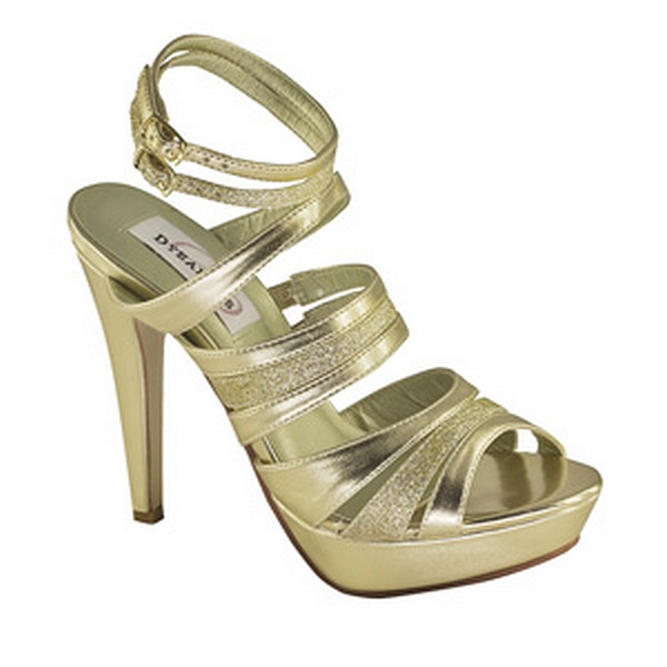 Dyeables Anya Gold Glitter Straps Platform Womens Strappy Dress Shoes
