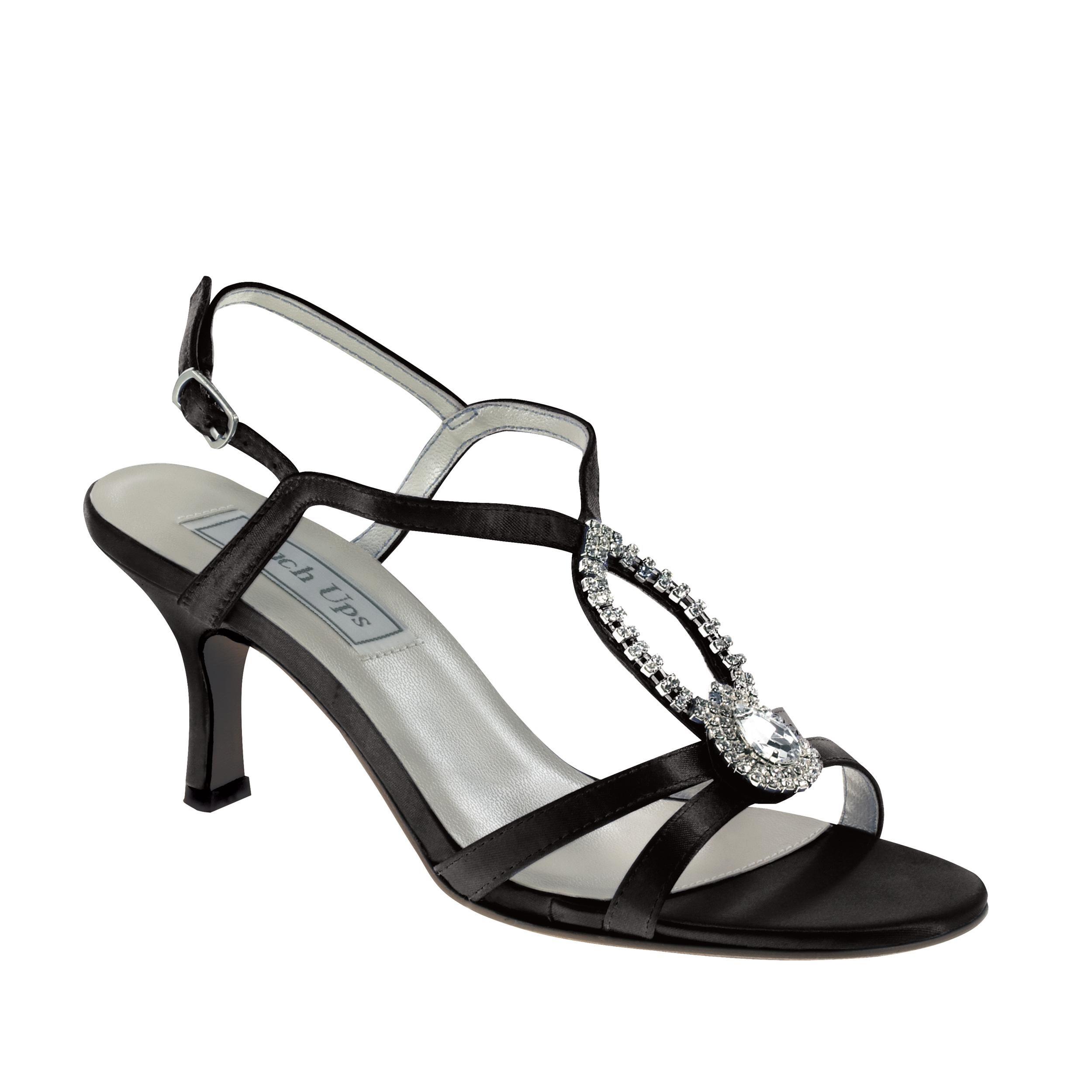 Touch Ups Mindy Black Satin T-Strap Rhinestone Wide Width Bridal Wedding Shoes (B6M2)