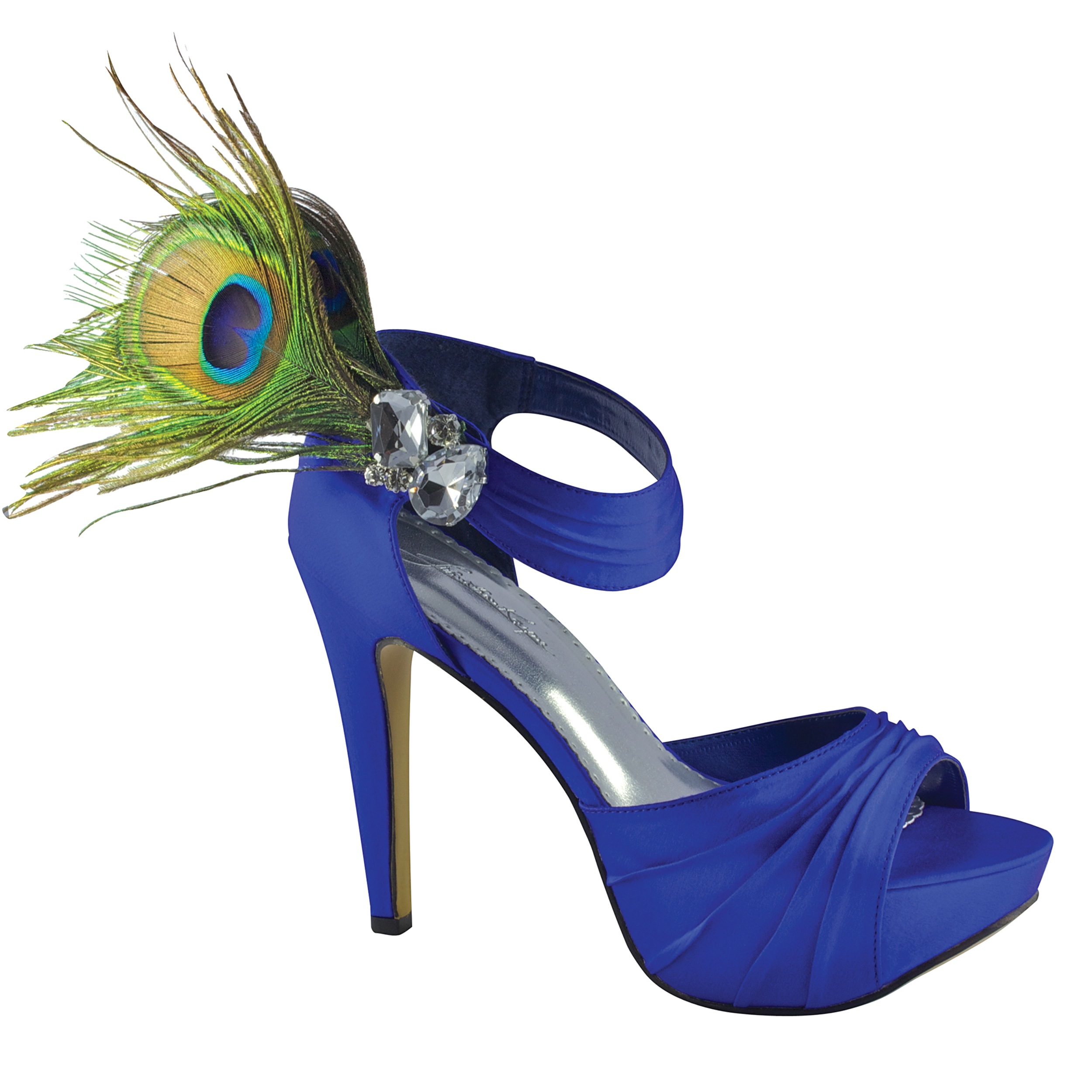 Johnathan Kayne Peacock Royal Blue Silk Feathers Platform High Heel Bridal Wedding Shoes at Sears.com