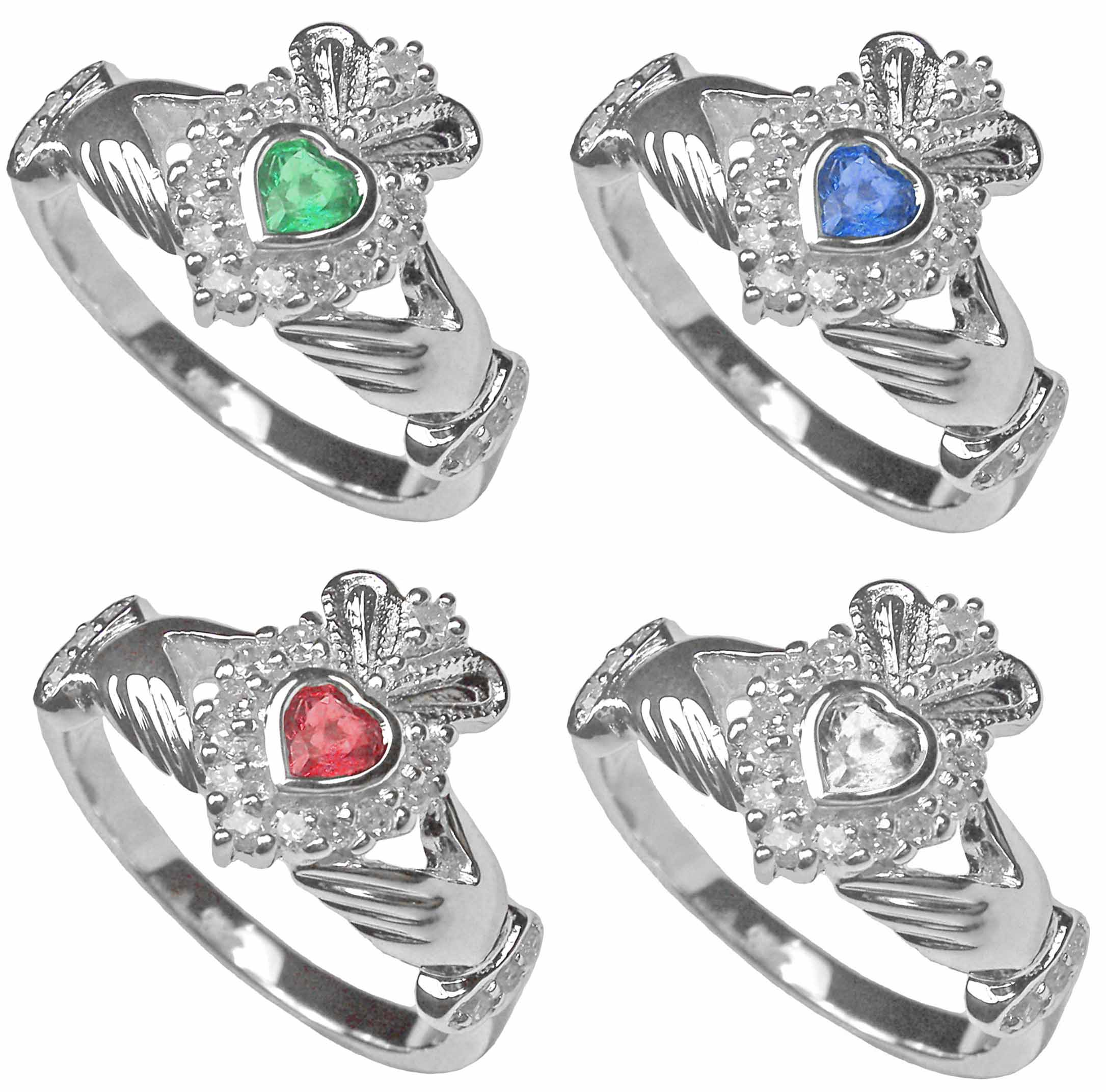 Silver Celtic Irish Claddagh Emerald Ruby Diamond Ring
