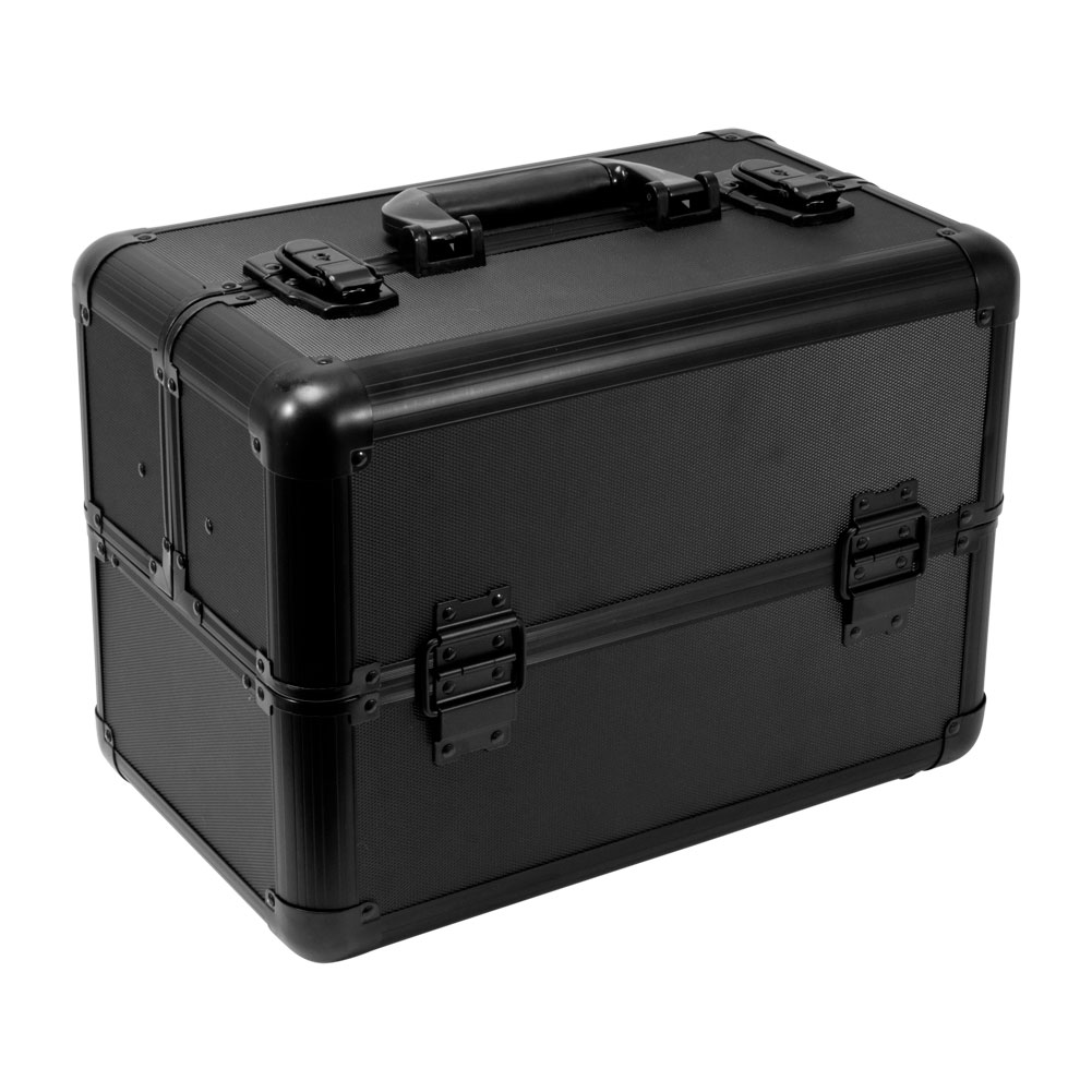 PRO Aluminum Travel Makeup Cosmetic Artist Case Train Organizer Locking Box Bag